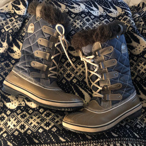 Sorel Torfino slate blue quilted leather boots 8.5
